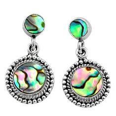 6.82cts natural green abalone paua seashell 925 silver dangle earrings r64166