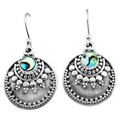 1.85cts natural green abalone paua seashell 925 silver dangle earrings r65126