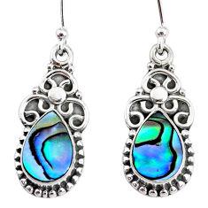 5.24cts natural green abalone paua seashell 925 silver dangle earrings r74830