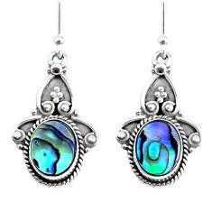5.54cts natural green abalone paua seashell 925 silver dangle earrings r74831