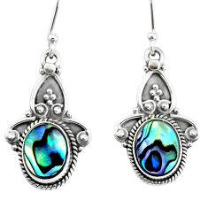 5.55cts natural green abalone paua seashell 925 silver dangle earrings r74833