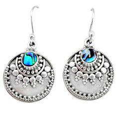 1.41cts natural green abalone paua seashell 925 silver dangle earrings r74865