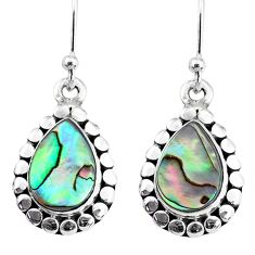 5.58cts natural green abalone paua seashell 925 silver dangle earrings r74930