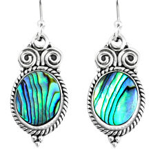 6.10cts natural green abalone paua seashell 925 silver dangle earrings r74945