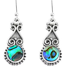 4.84cts natural green abalone paua seashell 925 silver dangle earrings r74964