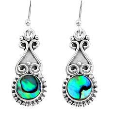 4.84cts natural green abalone paua seashell 925 silver dangle earrings r74965
