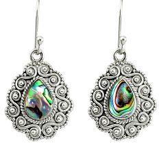 4.02cts natural green abalone paua seashell 925 silver dangle earrings r76555