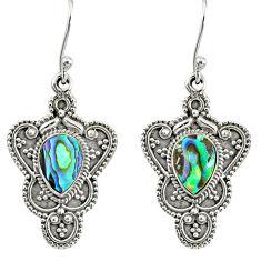 4.55cts natural green abalone paua seashell 925 silver dangle earrings r76557