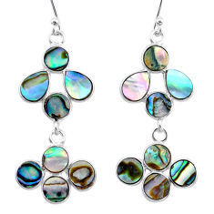 9.05cts natural green abalone paua seashell 925 silver dangle earrings t12450