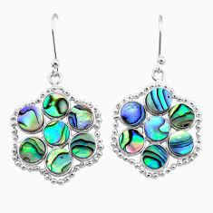 10.65cts natural green abalone paua seashell 925 silver dangle earrings t12453