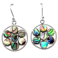 8.56cts natural green abalone paua seashell 925 silver dangle earrings t12472