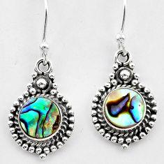 2.53cts natural green abalone paua seashell 925 silver dangle earrings t26867