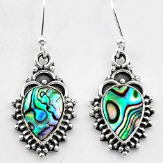 3.37cts natural green abalone paua seashell 925 silver dangle earrings t26886