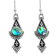 1.81cts natural green abalone paua seashell 925 silver dangle earrings t35928