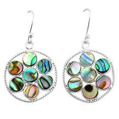 5.92cts natural green abalone paua seashell 925 silver dangle earrings t4607