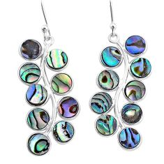 11.73cts natural green abalone paua seashell 925 silver dangle earrings t4629