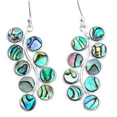 10.65cts natural green abalone paua seashell 925 silver dangle earrings t4631