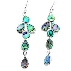 9.57cts natural green abalone paua seashell 925 silver dangle earrings t4773