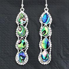 9.82cts natural green abalone paua seashell 925 silver dangle earrings t4826