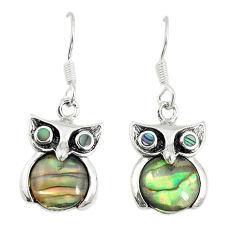 Natural green abalone paua seashell 925 silver owl earrings a74744 c14314