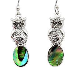 3.83cts natural green abalone paua seashell 925 silver owl earrings r48226