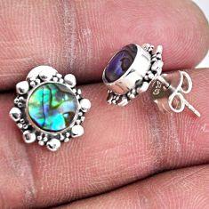 2.78cts natural green abalone paua seashell 925 silver stud earrings r55153