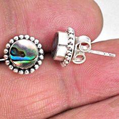 3.01cts natural green abalone paua seashell 925 silver stud earrings r59593