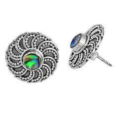 1.22cts natural green abalone paua seashell 925 silver stud earrings r59711