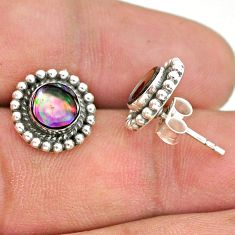 1.51cts natural green abalone paua seashell 925 silver stud earrings t34168