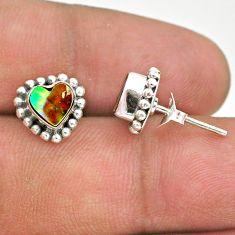 1.98cts natural green abalone paua seashell 925 silver stud earrings t41593