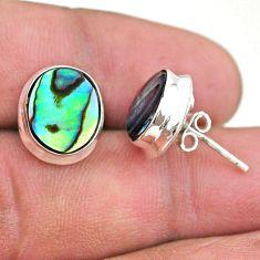 6.83cts natural green abalone paua seashell 925 silver stud earrings t47276