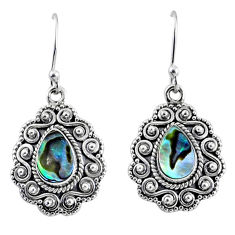 4.02cts natural green abalone paua seashell 925 sterling silver earrings r64220