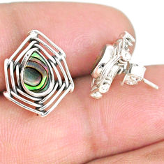 3.83cts natural green abalone paua seashell 925 sterling silver earrings r67909