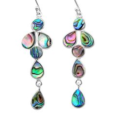 8.73cts natural green abalone paua seashell 925 sterling silver earrings t12573