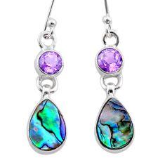 6.57cts natural green abalone paua seashell amethyst 925 silver earrings t47283