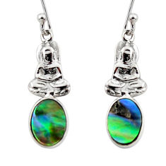 2.96cts natural green abalone paua seashell silver buddha charm earrings r48213