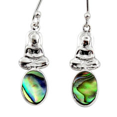 3.00cts natural green abalone paua seashell silver buddha charm earrings r48218