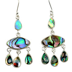 4.35cts natural green abalone paua seashell silver chandelier earrings d47553