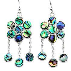 13.61cts natural green abalone paua seashell silver chandelier earrings t4651