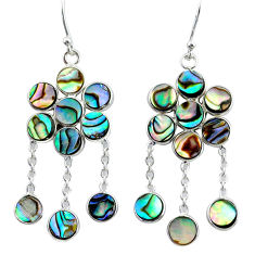 14.08cts natural green abalone paua seashell silver chandelier earrings t4652