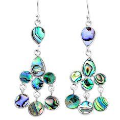 11.57cts natural green abalone paua seashell silver chandelier earrings t4669