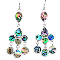 11.57cts natural green abalone paua seashell silver chandelier earrings t4671