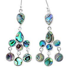 12.10cts natural green abalone paua seashell silver chandelier earrings t4677