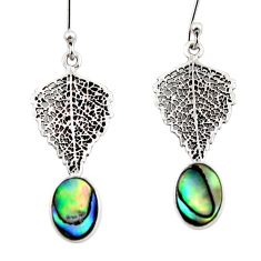 3.18cts natural green abalone paua seashell silver deltoid leaf earrings r48202