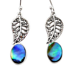3.33cts natural green abalone paua seashell silver deltoid leaf earrings r48203