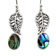 3.33cts natural green abalone paua seashell silver deltoid leaf earrings r48206