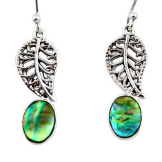 3.32cts natural green abalone paua seashell silver deltoid leaf earrings r48207
