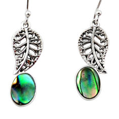 3.33cts natural green abalone paua seashell silver deltoid leaf earrings r48225