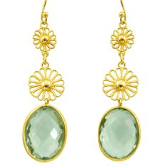 11.07cts natural green amethyst 925 silver 14k gold dangle earrings r31602