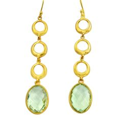 13.67cts natural green amethyst 925 silver 14k gold dangle earrings r31742
